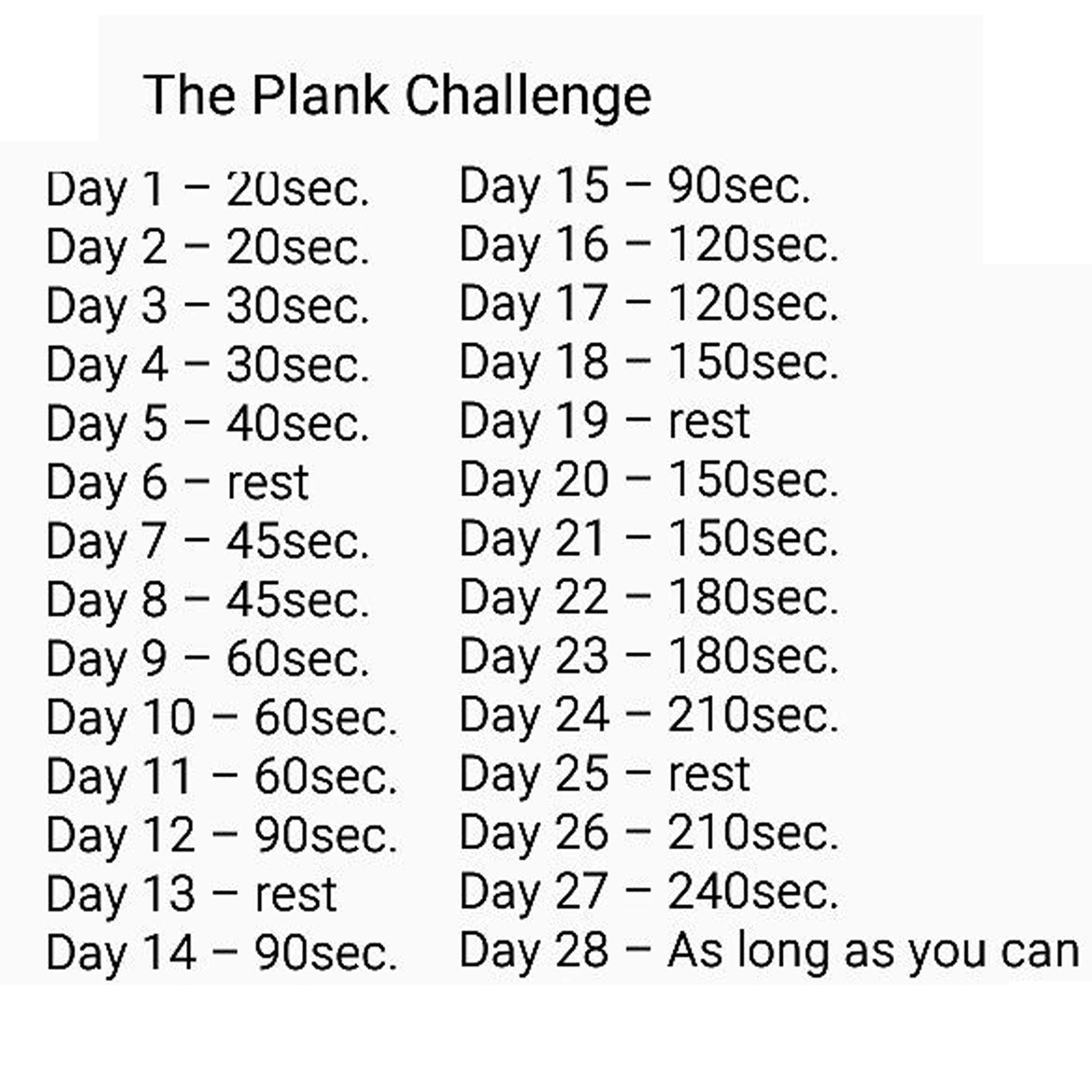 Try The 28 Day Planking Challenge Gymbuddy Now