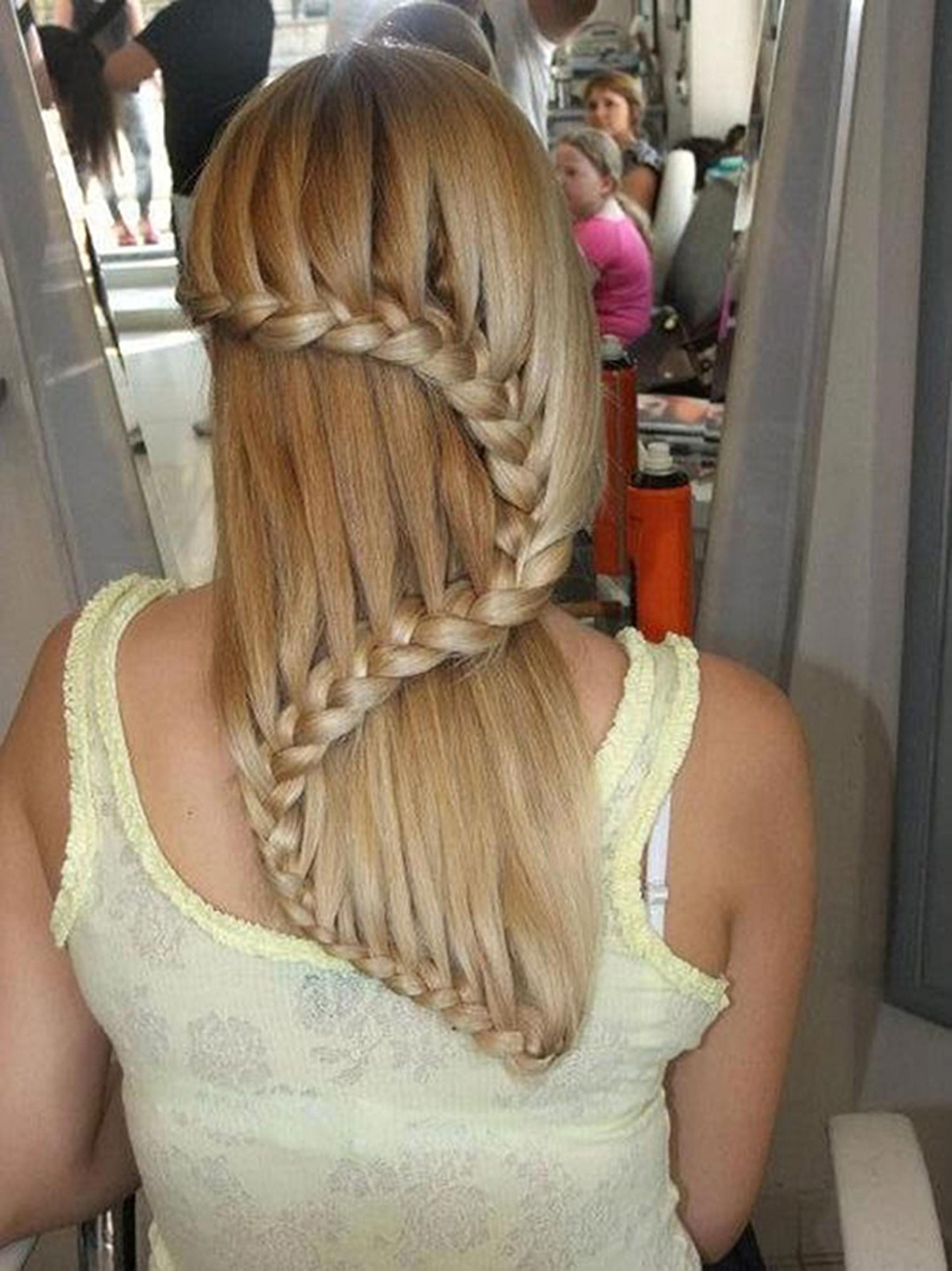 Как сделать водопад на длинных волосах