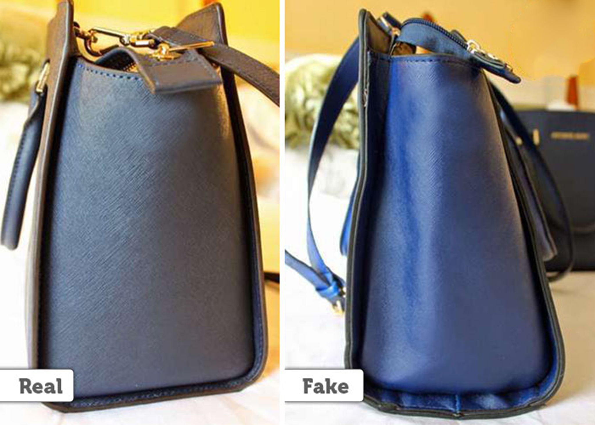 4 A Fake Mk Bag Will Have More E Between Its Sides While The Real Has Lesser On