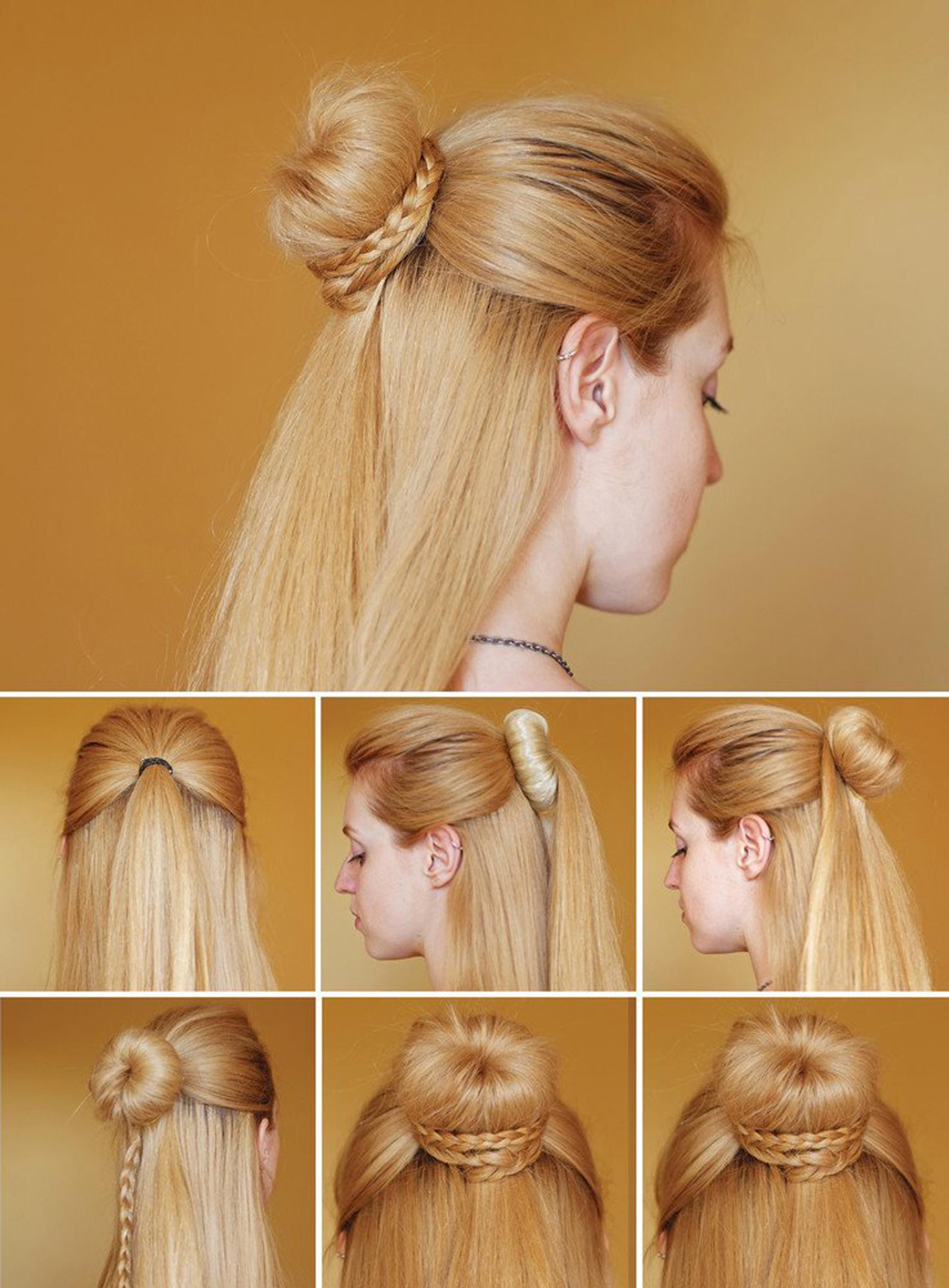 Как сделать причёску бублик на длинные волосы